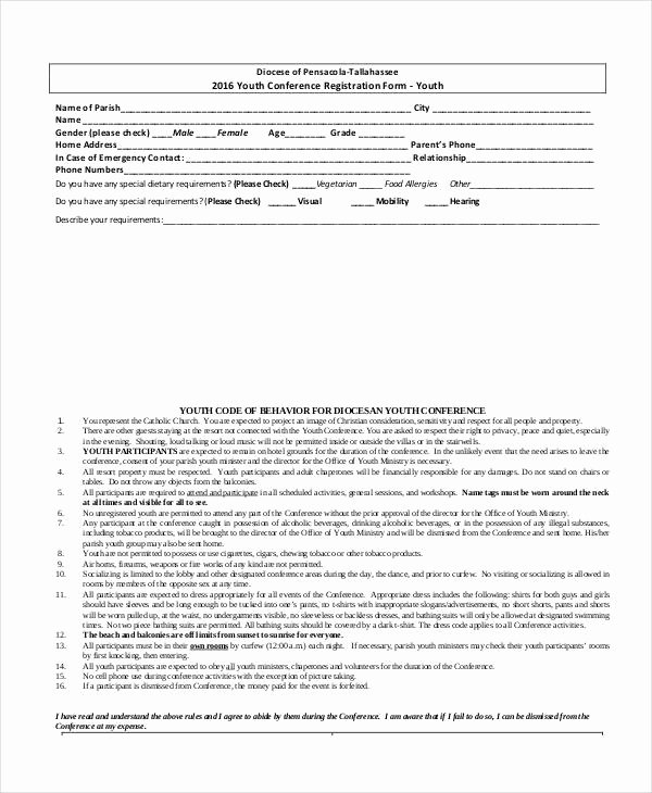 Conference Registration forms Template Best Of Registration form Template 9 Free Pdf Word Documents