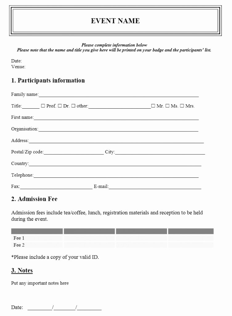 Conference Registration forms Template Elegant event Registration form Template