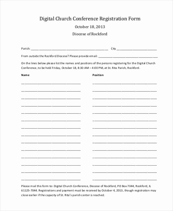 Conference Registration forms Template Inspirational Registration form Templates