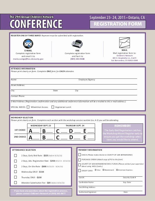 Conference Registration forms Template Inspirational the 29th Annual Children S Network Conference