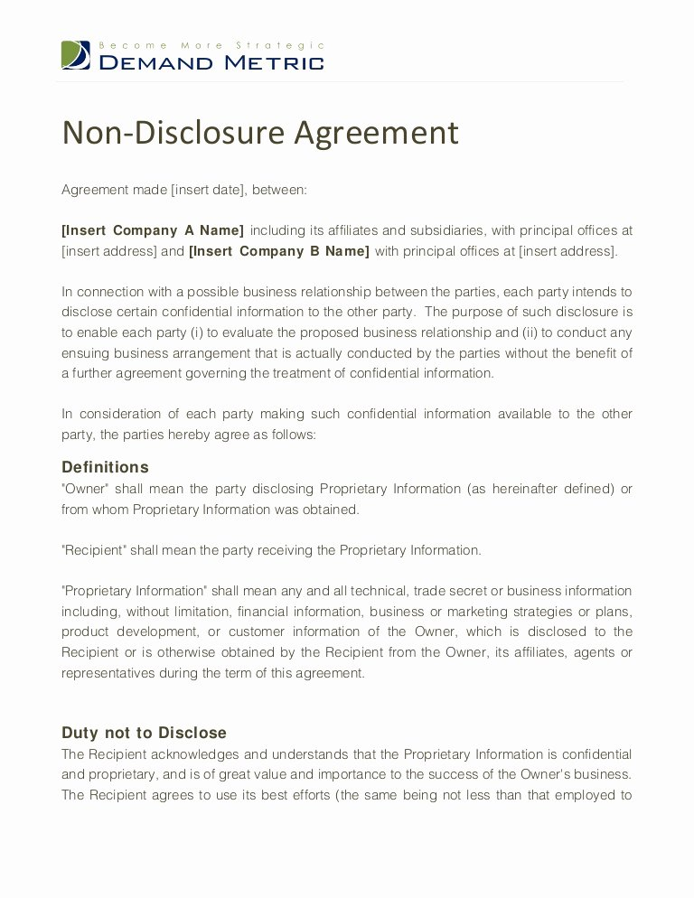 Confidentiality Agreement Template Word Awesome Non Disclosure Agreement Template