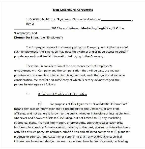 Confidentiality Agreement Template Word Best Of 19 Word Non Disclosure Agreement Templates Free Download