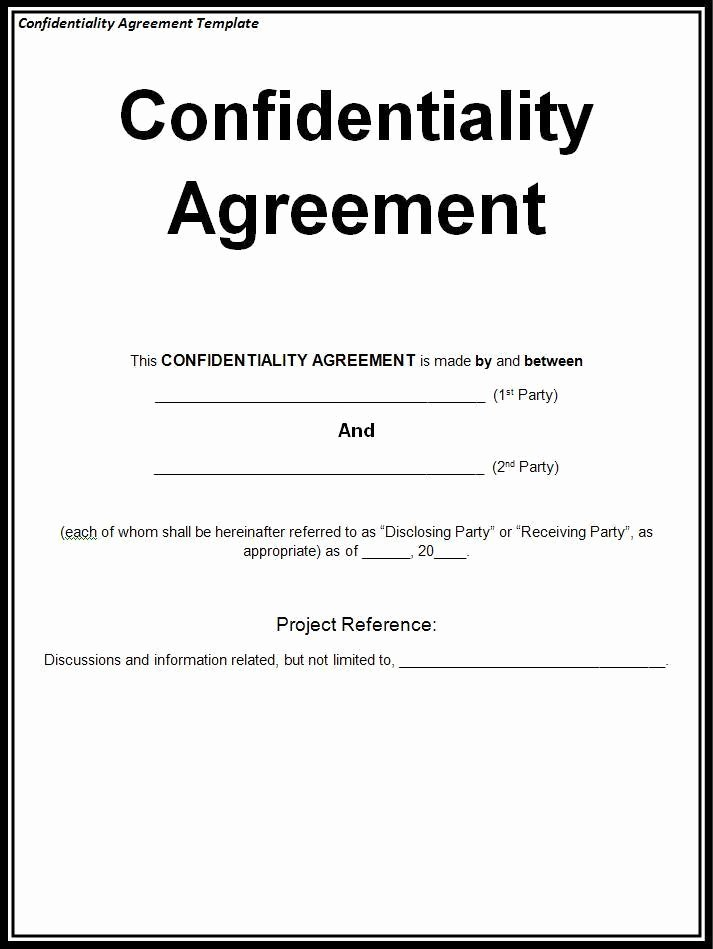 Confidentiality Agreement Template Word Best Of Confidentiality Agreement Template
