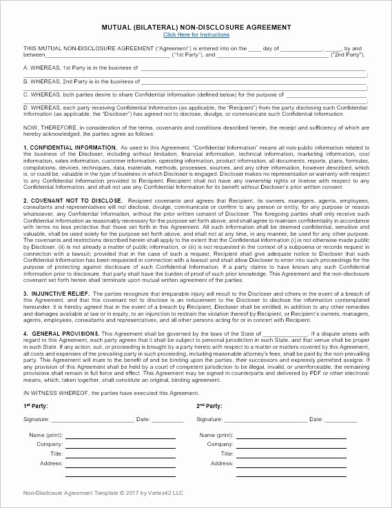 Confidentiality Agreement Template Word Inspirational Download A Free Non Disclosure Agreement Nda or