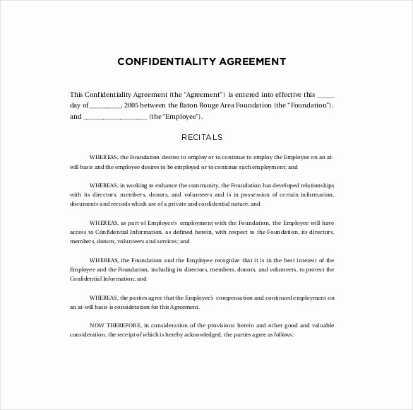 Confidentiality Agreement Template Word Lovely 15 Confidentiality Agreement Templates – Free Word Pdf