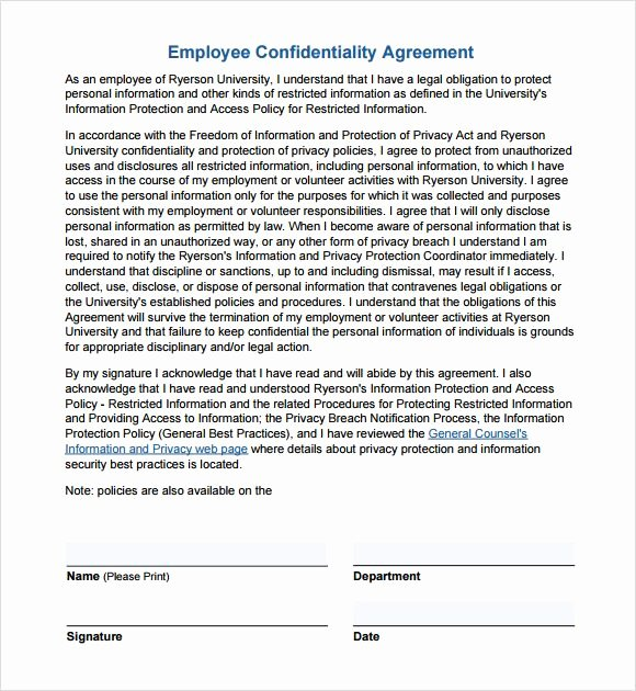 Confidentiality Agreement Template Word Luxury Employee Confidentiality Agreement Non Disclosure