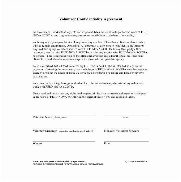 Confidentiality Agreement Template Word New 25 Confidentiality Agreement Templates Doc Pdf