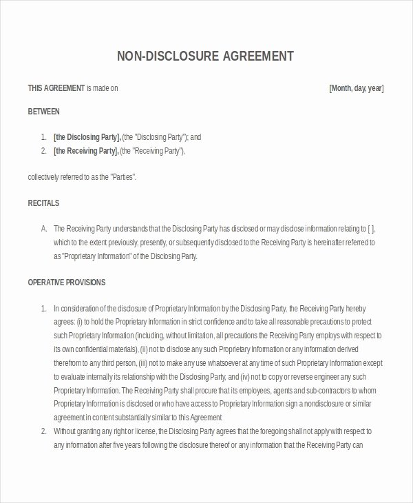 Confidentiality Agreement Template Word Unique 21 Non Disclosure Agreement Templates Free Sample