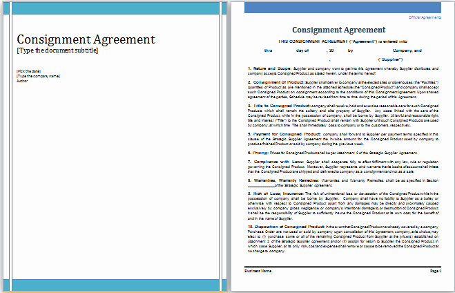 Consignment Agreement Template Free Awesome Ms Word Consignment Agreement Template