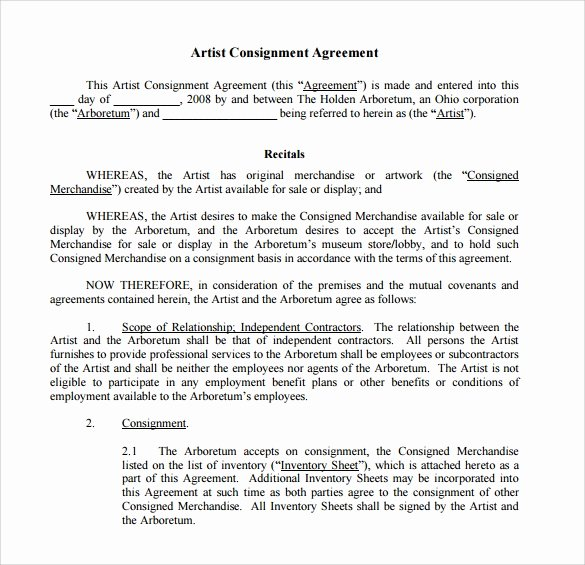 Consignment Agreement Template Free Best Of 16 Sample Consignment Agreement Templates to Download