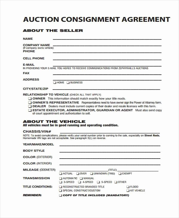 Consignment Agreement Template Free Elegant 10 Consignment Agreement form Samples Free Sample