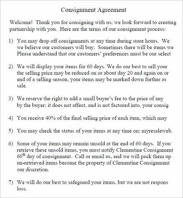 Consignment Agreement Template Free Elegant 16 Sample Consignment Agreement Templates to Download