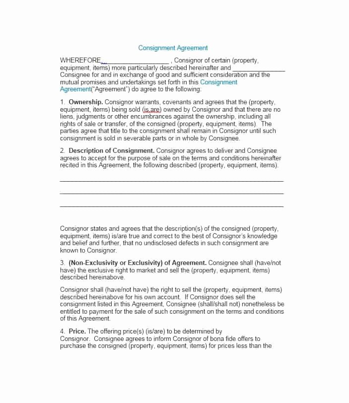 Consignment Agreement Template Free Elegant 40 Best Consignment Agreement Templates & forms