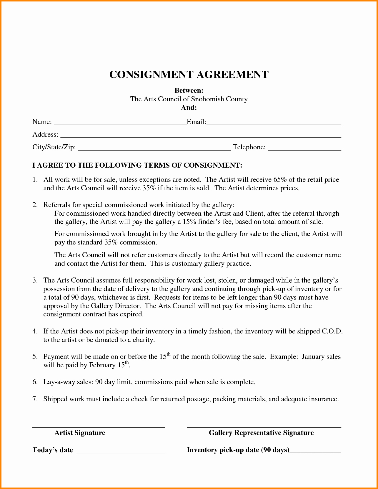 Consignment Agreement Template Free Fresh Consignment Inventory Agreement Template