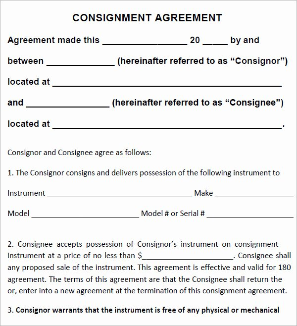 Consignment Agreement Template Free Inspirational 16 Sample Consignment Agreement Templates to Download