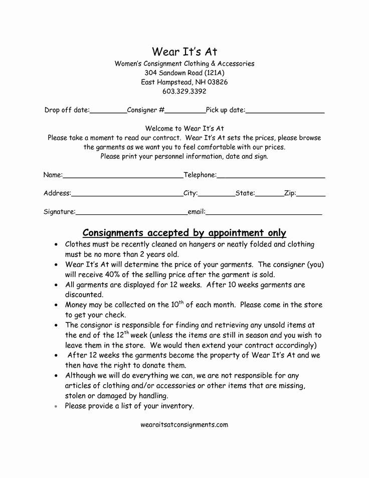 Consignment Agreement Template Free Inspirational Clothing Consignment Contract Template