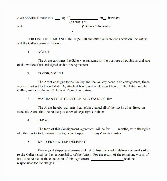 Consignment Agreement Template Free Lovely 10 Sample Consignment Agreements Word Pdf