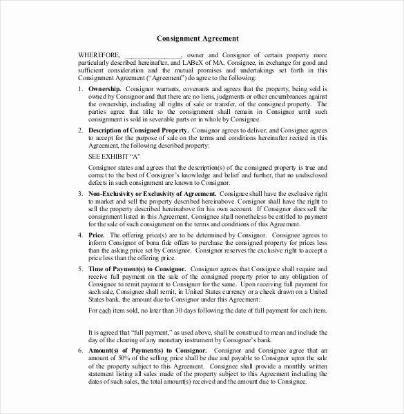 Consignment Agreement Template Free Lovely Consignment Agreement Template – 12 Free Word Pdf