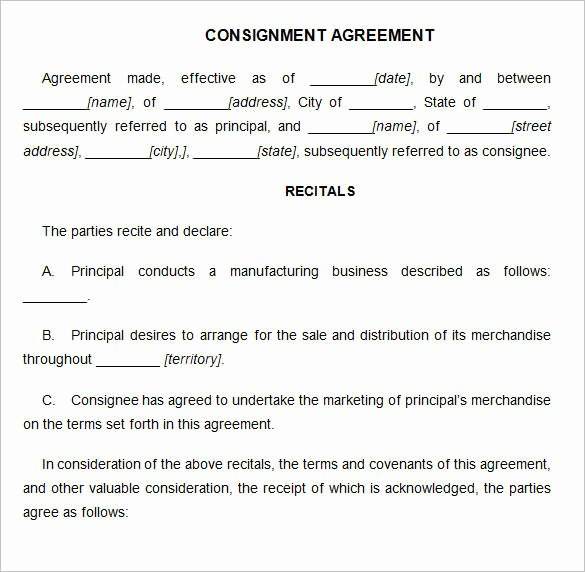 Consignment Agreement Template Free New 15 Consignment Agreement Samples and Templates – Pdf
