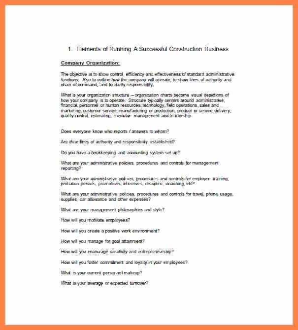 Construction Business Plan Template Beautiful 10 Construction Pany Business Plan Template
