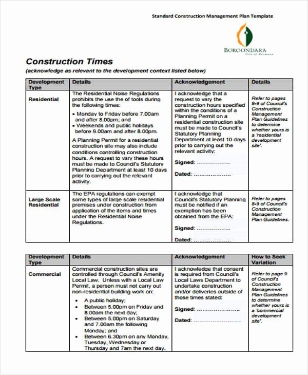 Construction Business Plan Template New 34 Management Plan Templates In Pdf