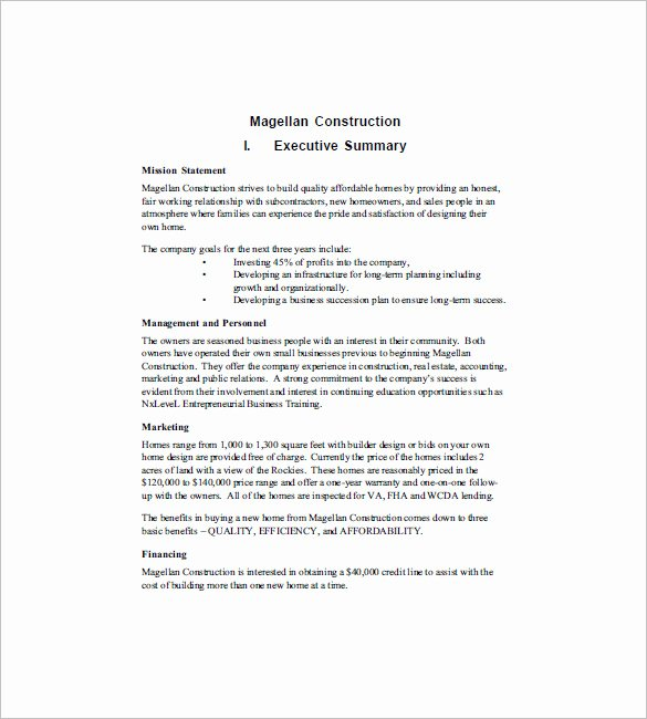 Construction Business Plan Template New Construction Business Plan Template 12 Free Word Excel