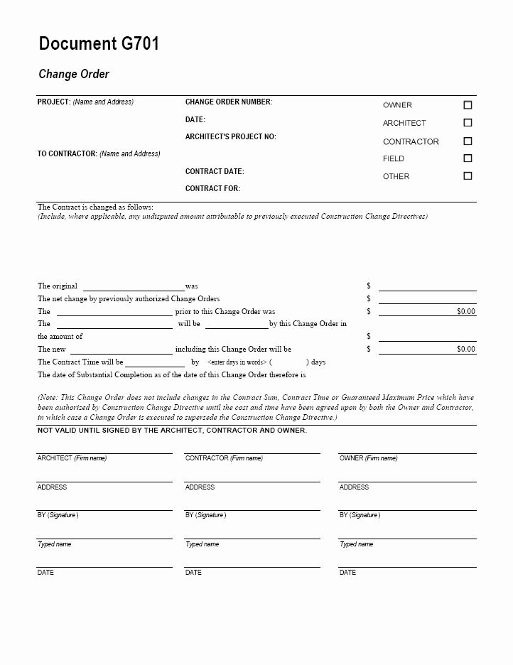 Construction Change order Template Elegant Aia G701 Change order form Template for Excel Change