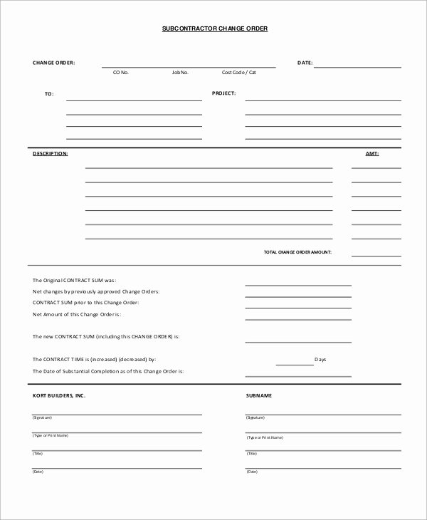 Construction Change order Template Fresh 12 Sample Change order forms
