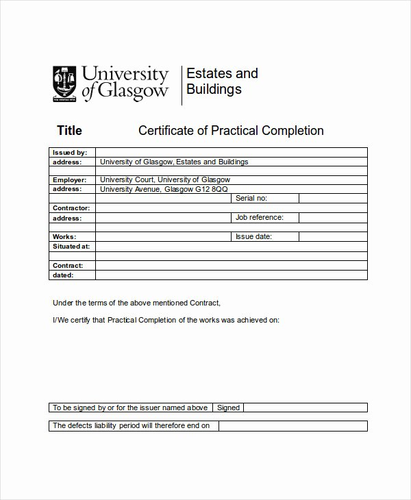 Construction Completion Certificate Template Best Of 21 Pletion Certificate Examples Psd Pdf Word