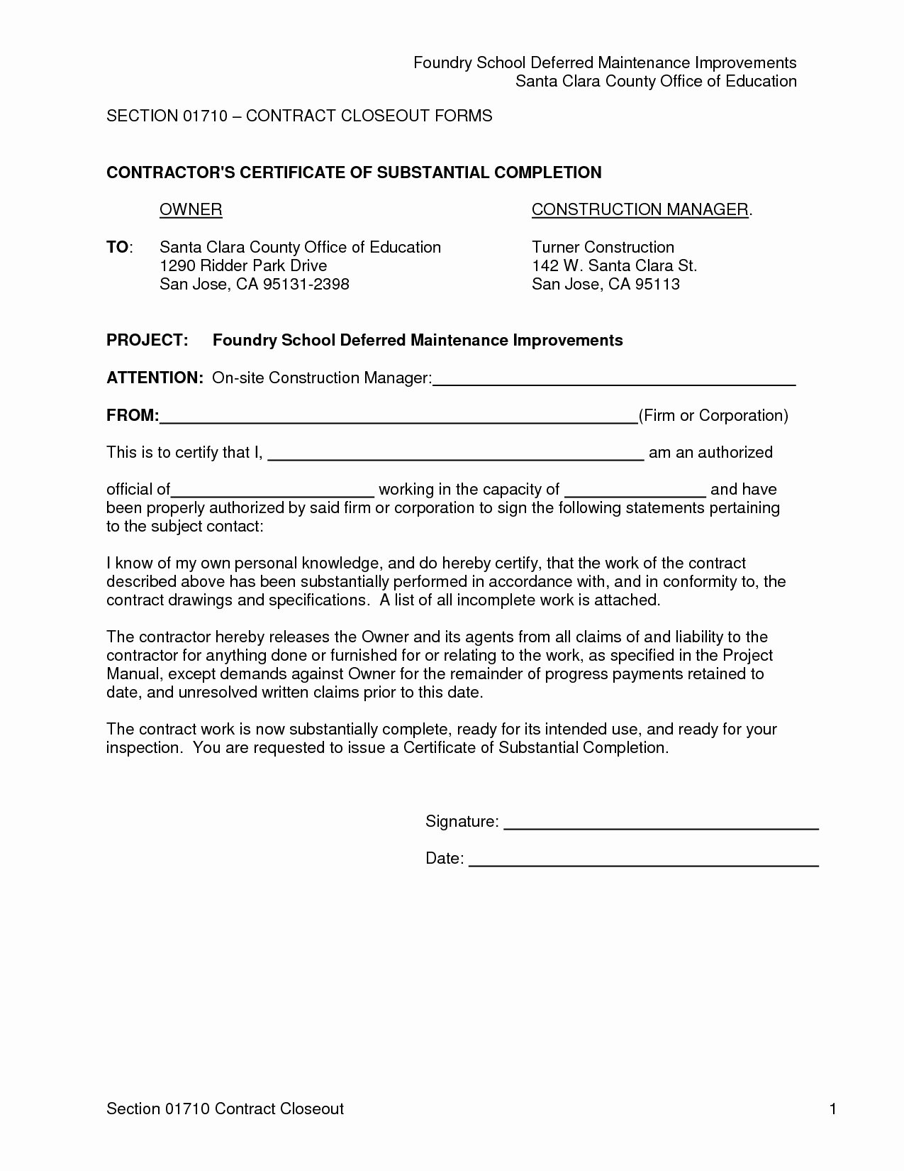 Construction Completion Certificate Template Best Of Letter Substantial Pletion Template Examples
