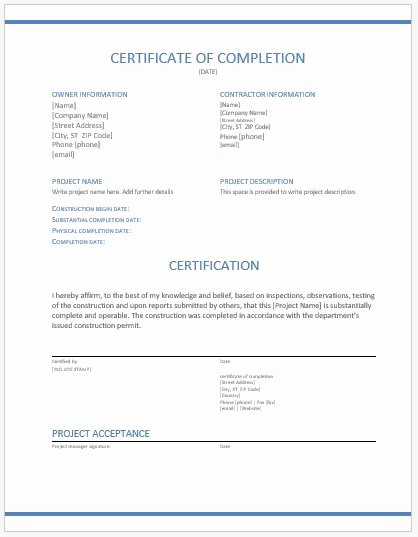 Construction Completion Certificate Template Elegant Construction Pletion Certificate Template