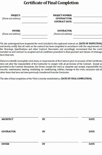 Construction Completion Certificate Template Unique Contractor S Certificate Of Final Pletion form $5 99