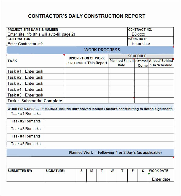Construction Daily Report Template Elegant Daily Report 7 Free Pdf Doc Download
