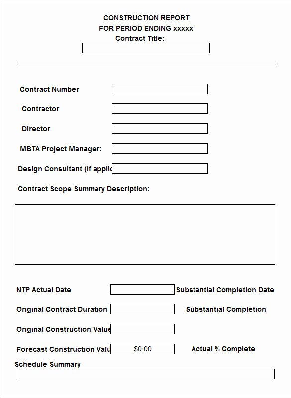 Construction Daily Report Template Inspirational 21 Daily Construction Report Templates Pdf Google Docs