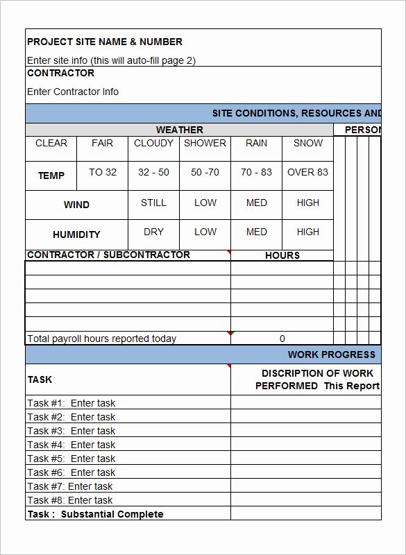 Construction Daily Report Template Luxury Daily Construction Report Template 32 Free Word Pdf