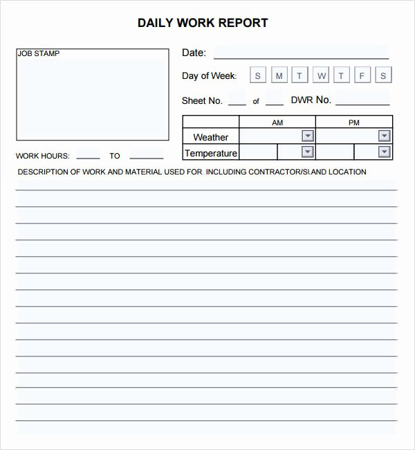 Construction Daily Report Template New Daily Report 7 Free Pdf Doc Download