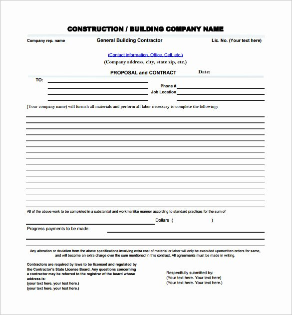 Construction Job Proposal Template Awesome Construction Proposal Templates 19 Free Word Excel