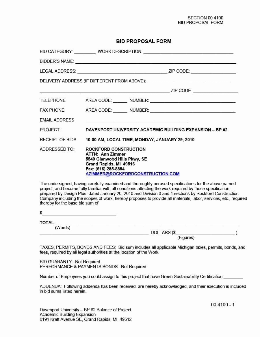 Construction Job Proposal Template Best Of 31 Construction Proposal Template & Construction Bid forms