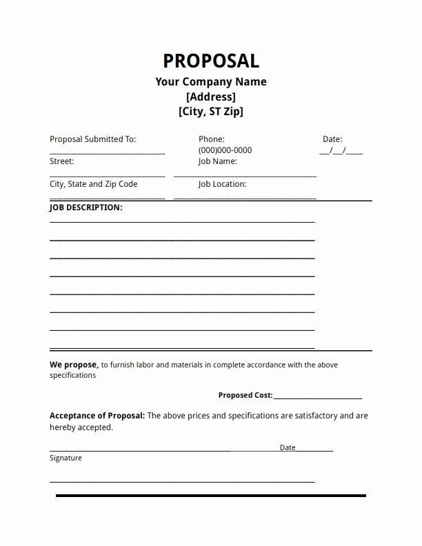Construction Job Proposal Template Best Of Job Proposal Template