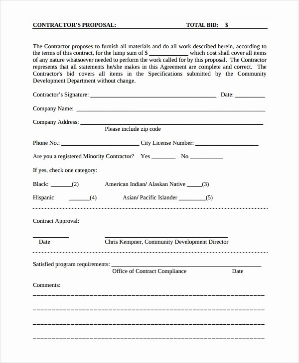 Construction Job Proposal Template Inspirational Contractor Proposal Template 13 Free Word Document