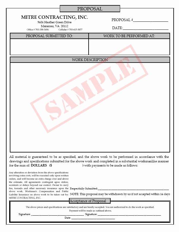 Construction Job Proposal Template New Printable Blank Bid Proposal forms