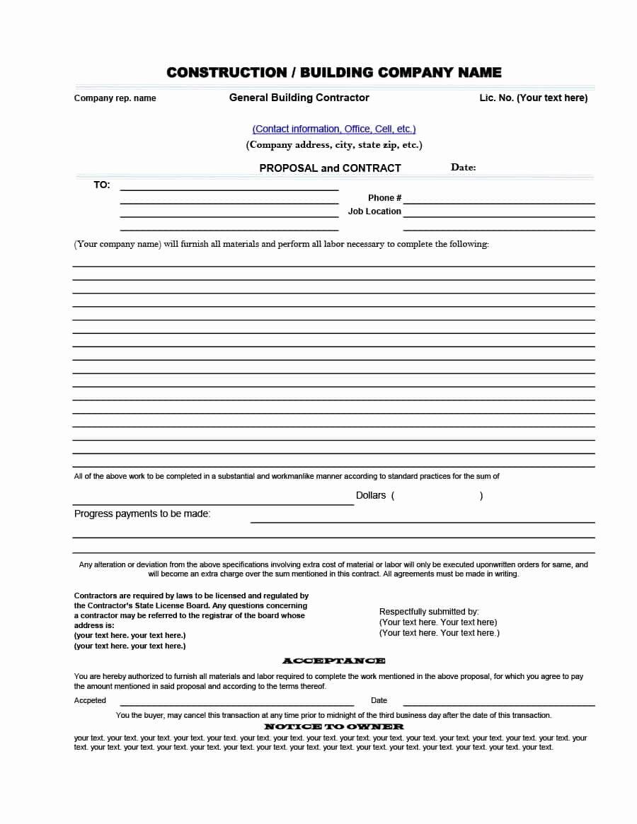 Construction Job Proposal Template Unique 31 Construction Proposal Template & Construction Bid forms
