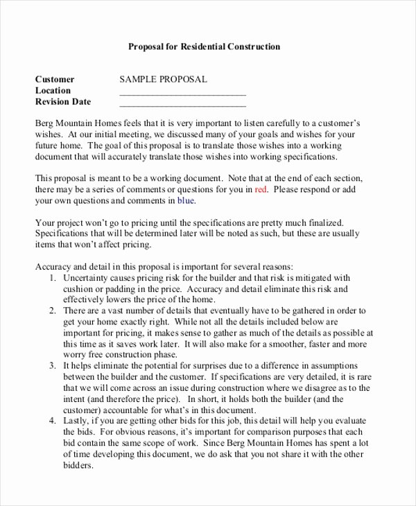 Construction Job Proposal Template Unique Sample Construction Bid forms 8 Free Documents In Word Pdf