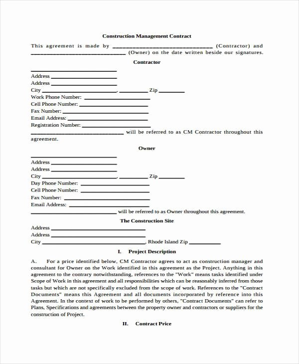 Construction Management Contract Template Awesome Sample Contract forms
