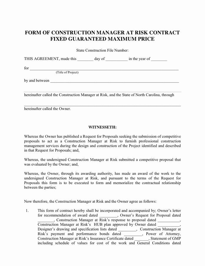 Construction Management Contract Template Beautiful form Of Construction Manager Contract In Word and Pdf