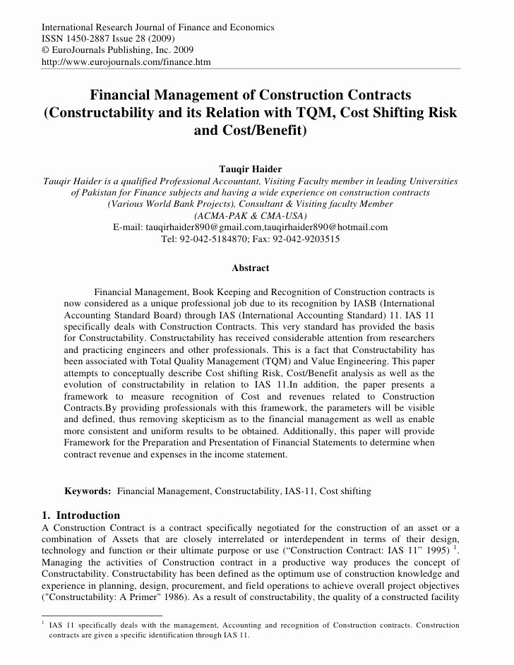 Construction Management Contract Template Best Of Financial Management Of Construction Contracts