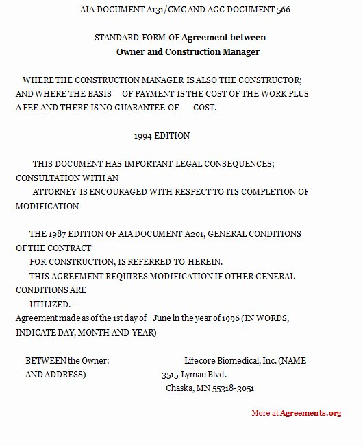 Construction Management Contract Template Fresh Construction Management Contract form Free Printable