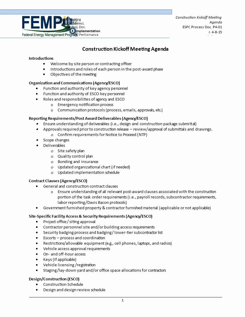 construction kick off meeting agenda