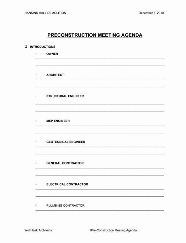 Construction Meeting Agenda Template Best Of 5 Pre Construction Meeting Agenda Template Eiyye