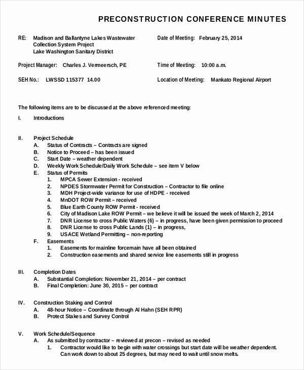 Construction Meeting Agenda Template Elegant Construction Minutes Template – 9 Free Word Pdf